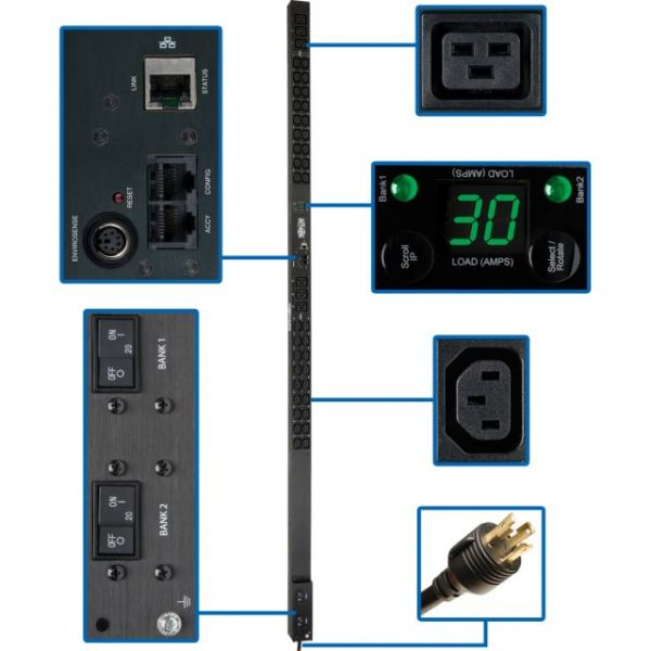 Tripp Lite PDU Monitored 208V / 240V 30A 36 C13; 6 C19 Outlet Vertical 0URM