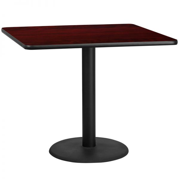 Flash Furniture 42'' Square Mahogany Laminate Table Top with 24'' Round Table Height Base