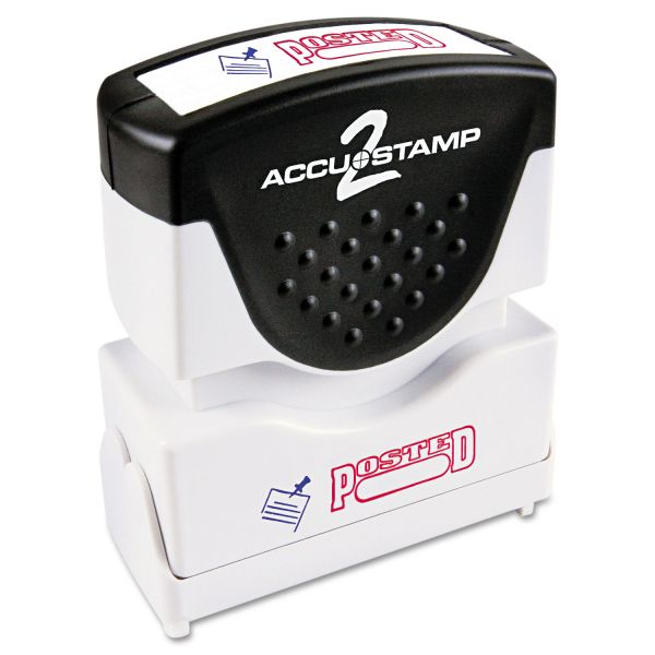ACCUSTAMP2 Pre-Inked Shutter Stamp, Red/Blue, POSTED, 1 5/8 x 1/2