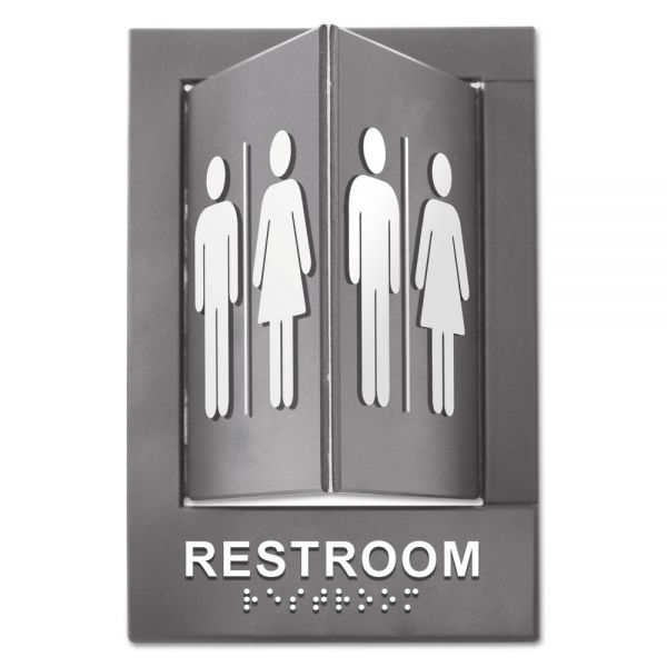 Advantus Pop-Out ADA Sign, Restroom, Tactile Symbol/Braille, Plastic, 6 x 9, Gray/White