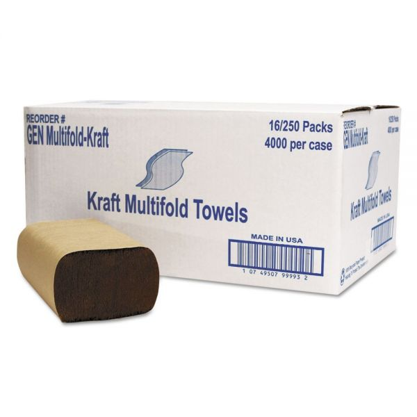 GEN Multifold Towel, 1-Ply, Brown, 250/Pack, 16 Packs/Carton