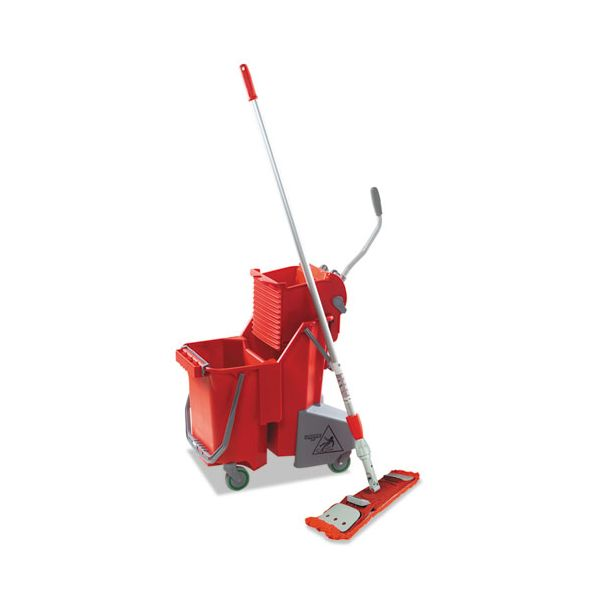 Unger Side-Press Restroom Mop Dual Bucket FloorPack