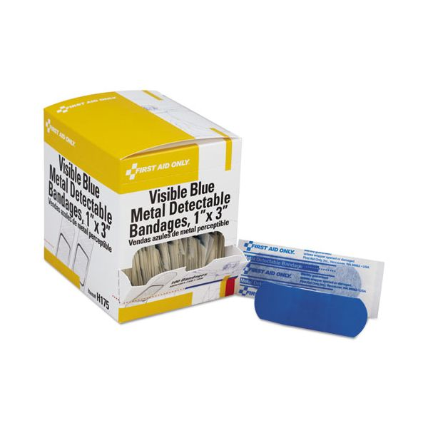 First Aid Only Adhesive Blue Metal Detectable Bandages, 1 x 3, Plastic w/Foil, 100/Bx, 12 Bx/Ct