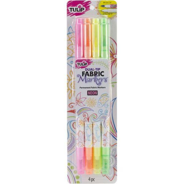 Tulip Dual-Tip Fabric Markers 4/Pkg