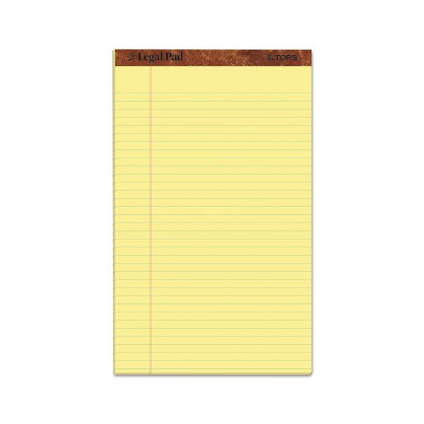 """TOPS """"The Legal Pad"""" Ruled Pads, Legal/Wide, 8 1/2 x 14, Canary, 50 Sheets, Dozen"""