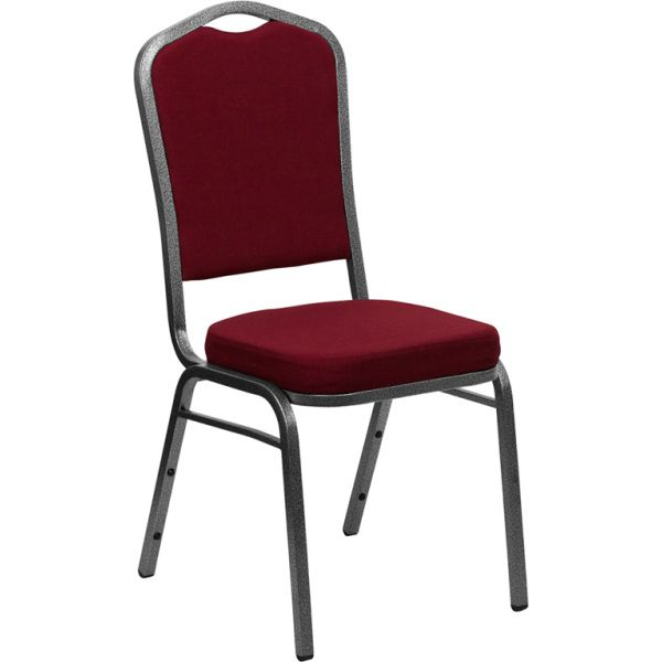 Flash Furniture HERCULES Series Crown Back Stacking Banquet Chair with Burgundy Fabric and 2.5'' Thick Seat - Silver Vein Frame