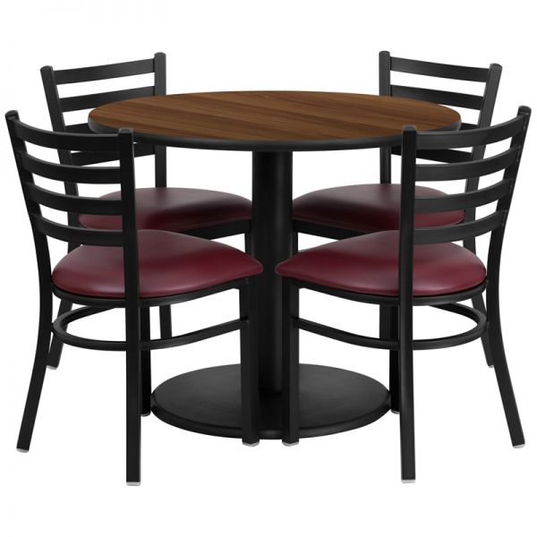Flash Furniture 36'' Round Walnut Laminate Table Set with 4 Ladder Back Metal Chairs - Burgundy Vinyl Seat