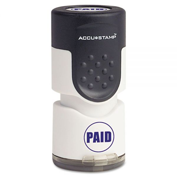 "ACCUSTAMP Accustamp Pre-Inked Round Stamp with Microban, PAID, 5/8"" dia, Blue"