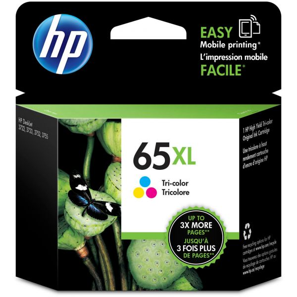 HP 65XL Tri-Color Ink Cartridge (N9K03AN)