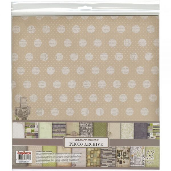 "ScrapBerry's Photo Archive Paper Pack 12""X12"" 12/Pkg"