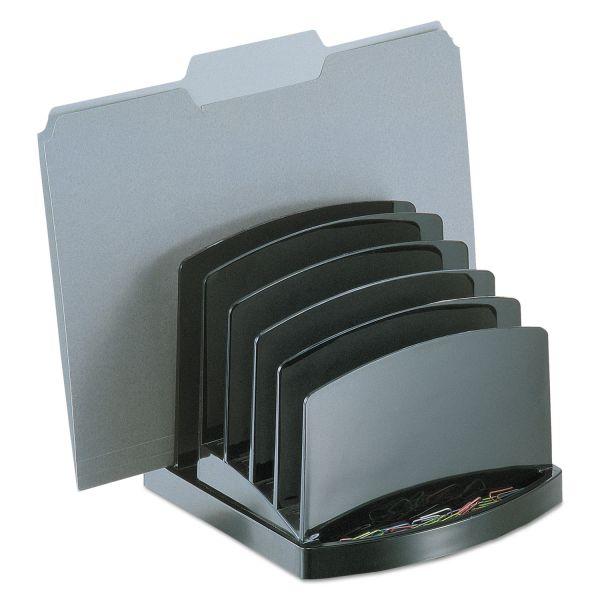 Officemate Incline Sorter, 6-Compartments, Plastic, 7.5w x 7.5d x 6.4h, Black