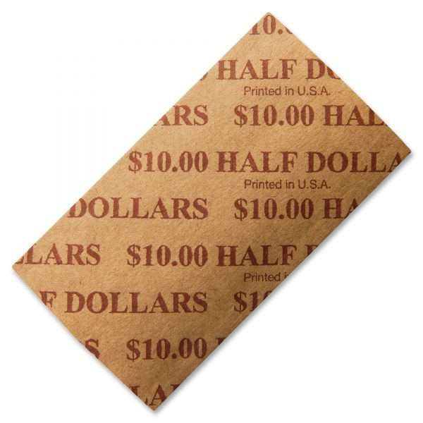 PM Company Tubular Coin Wrappers, Half Dollar Coins, $10, Pop-Open Wrappers, 1000/Pack