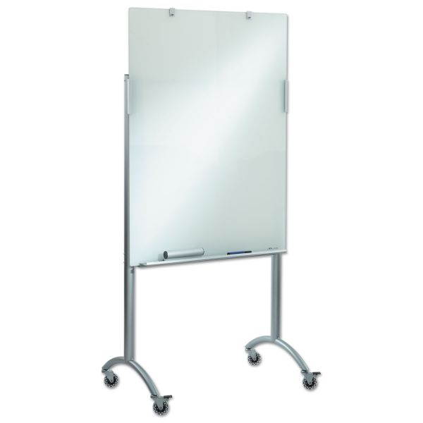 Iceberg Clarity Glass Mobile Presentation Easel, 36 x 48 x 72, Glass/Steel