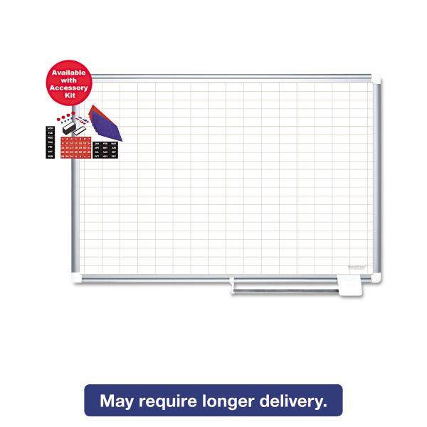 "MasterVision MasterVision Grid Platinum Plus Dry Erase Board, 1x2"" Grid, 36x48, silver"
