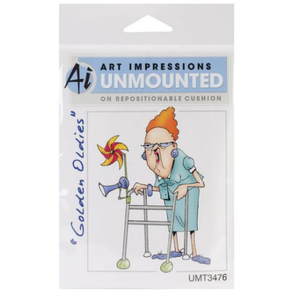 "Art Impressions Golden Oldies Cling Rubber Stamp 4""X2.25"""