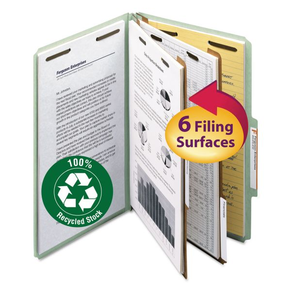 Smead 2-Divider Recycled Pressboard Classification File Folders