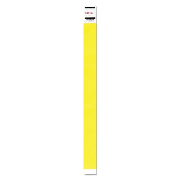 Advantus Crowd Management Wristband, Sequential Numbers, 9 3/4 x 3/4, Neon Yellow,500/PK