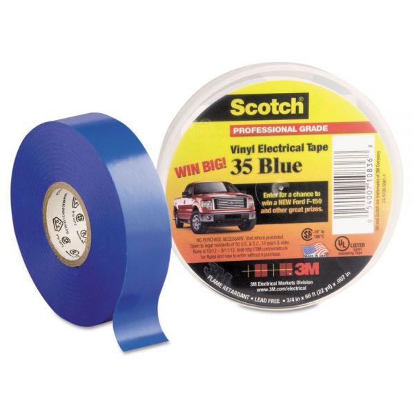 """3M Scotch 35 Vinyl Electrical Color Coding Tape, 3/4"""" x 66ft, Blue"""