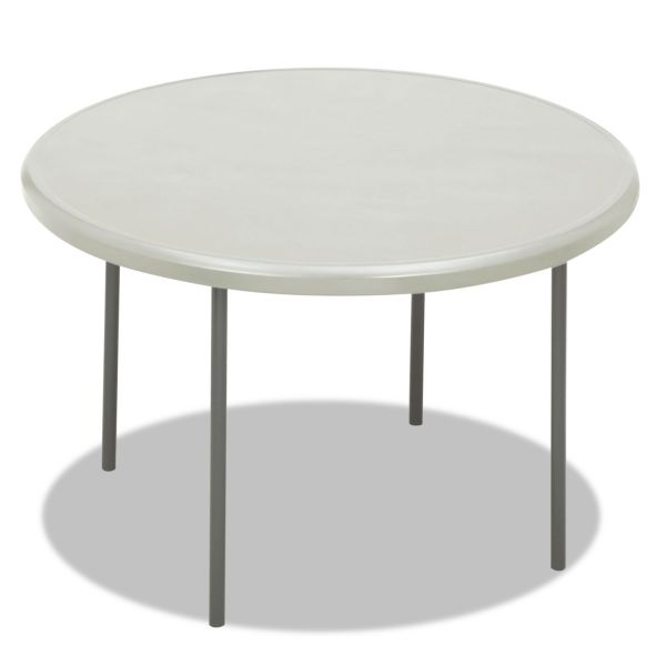 Iceberg IndestrucTables Too 1200 Series Resin Folding Table, 48 dia x 29h, Platinum