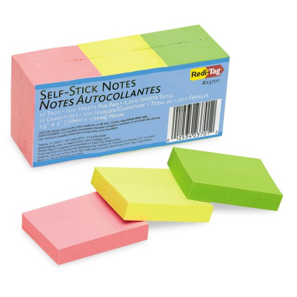 Redi-Tag Self-Stick Notes, 1 1/2 x 2, Neon, 12 100-Sheet Pads/Pack