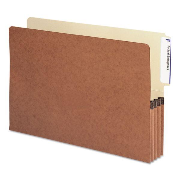 """Smead 3 1/2"""" Exp File Pockets, 1/3 Tab, Legal, Manila/Redrope, 10/Box"""