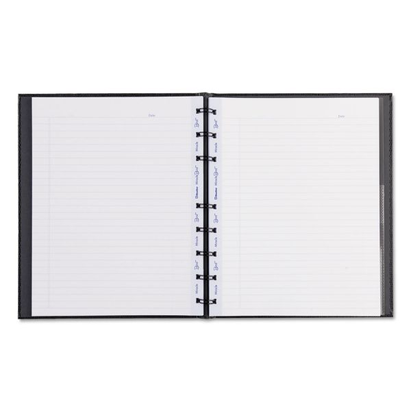 Blueline MiracleBind Notebook, College/Margin, 9 1/4 x 7 1/4, Black Cover, 75 Sheets