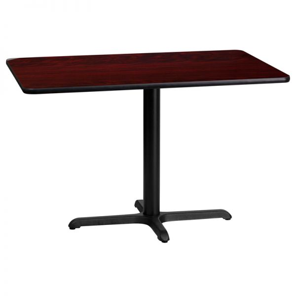 Flash Furniture 24'' x 42'' Rectangular Mahogany Laminate Table Top with 22'' x 30'' Table Height Base