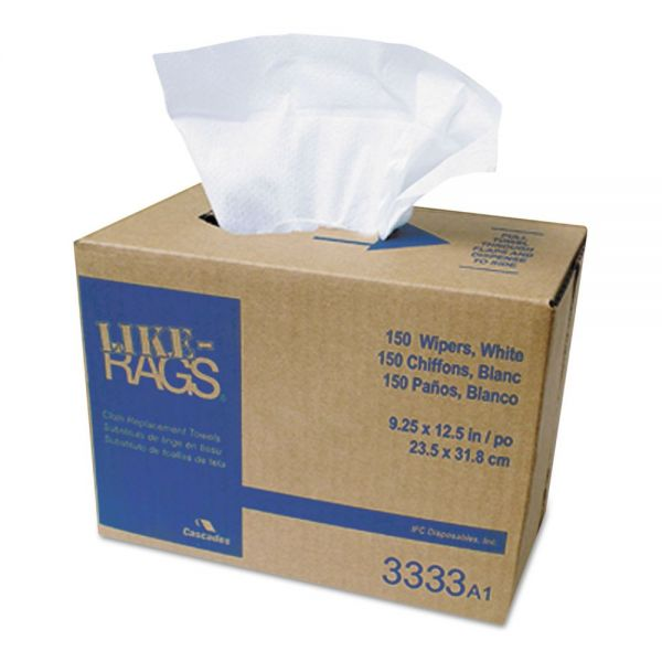 Cascades PRO Like-Rags Spunlace Towels, White, 9 1/4 x 12 1/2, 150/Box, 9 Box/Carton