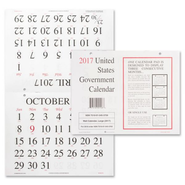 Unicor Fed Monthly Wall Calendar