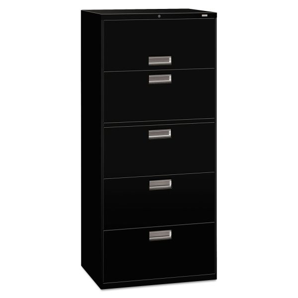 HON 600 Series Five-Drawer Lateral File, 30w x 19-1/4d, Black