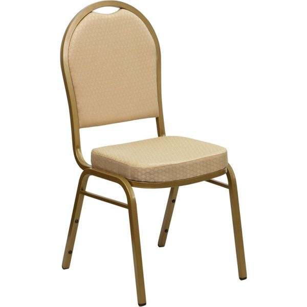 Flash Furniture HERCULES Series Dome Back Stacking Banquet Chair with Beige Patterned Fabric and 2.5'' Thick Seat - Gold Frame