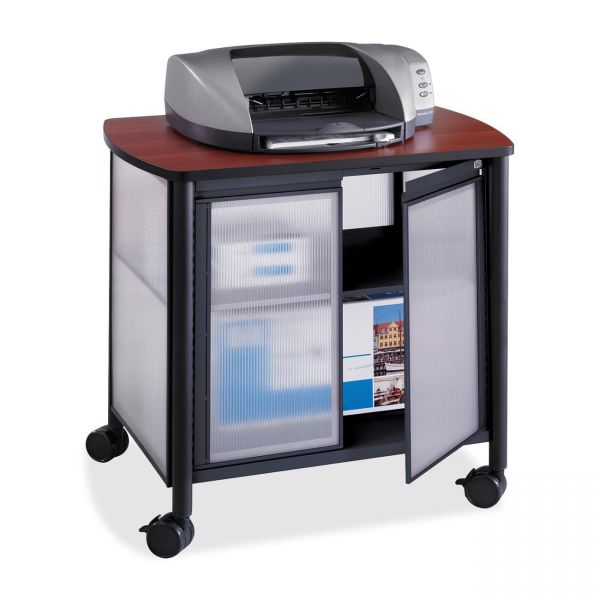 Safco Impromptu Deluxe Machine Stand w/Doors, 34-3/4 x 25-1/2 x 30-3/4, Black/Cherry