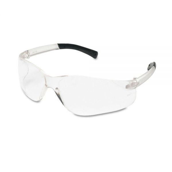 Crews BearKat Safety Glasses, Wraparound, Black Frame/Clear Lens