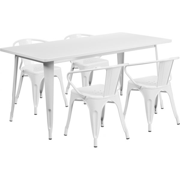 Flash Furniture 31.5'' x 63'' Rectangular White Metal Indoor-Outdoor Table Set with 4 Arm Chairs