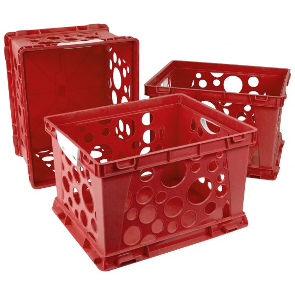 Storex Large Storage and Filing Crate with Comfort Handles, Red/White (Case of 3)