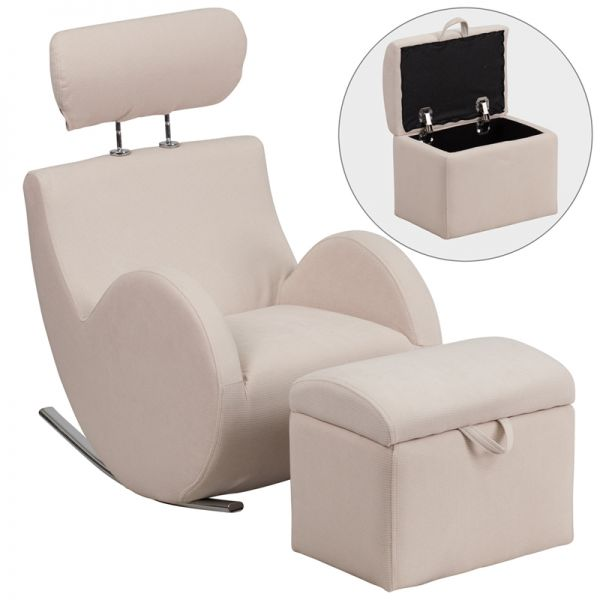 Flash Furniture HERCULES Series Beige Fabric Rocking Chair with Storage Ottoman