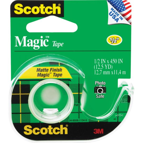 "Scotch Magic Tape in Handheld Dispenser, 1/2"" x 450"", 1"" Core, Clear"