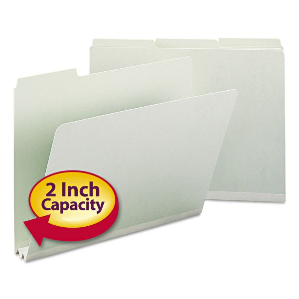 Smead Recycled Folder, Two Inch Expansion, 1/3 Top Tab, Letter, Gray Green, 25/Box