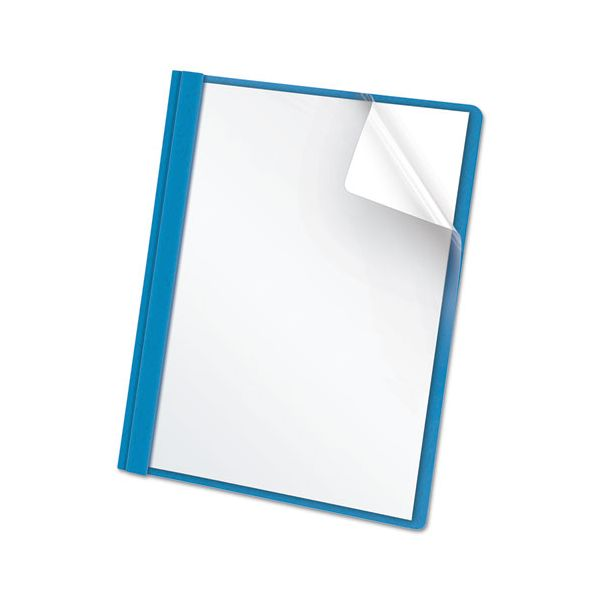 """Oxford Clear Front Report Cover, 3 Fasteners, Letter, 1/2"""" Capacity, Blue, 25/Box"""