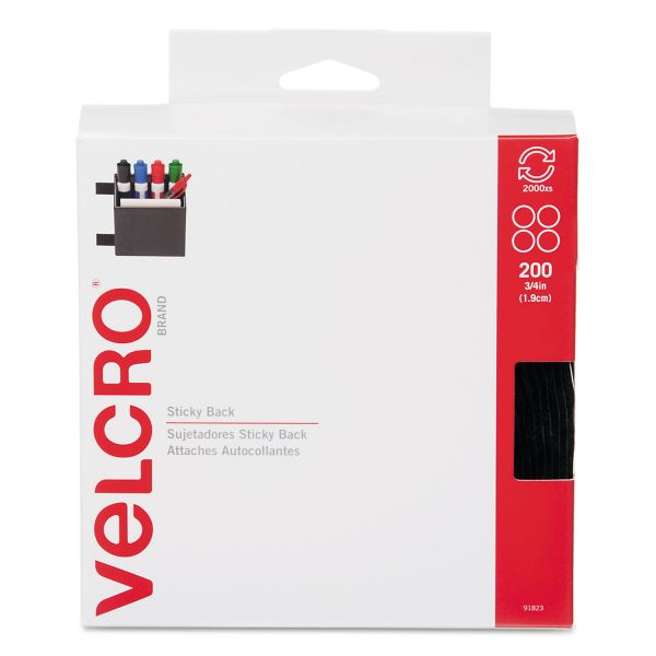"Velcro Sticky-Back® Fasteners, 3/4"" dia. Coins, Black, 200/BX"