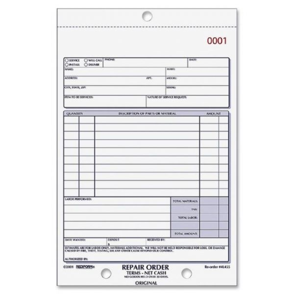 Rediform 3-part Carbonless Repair Order Book