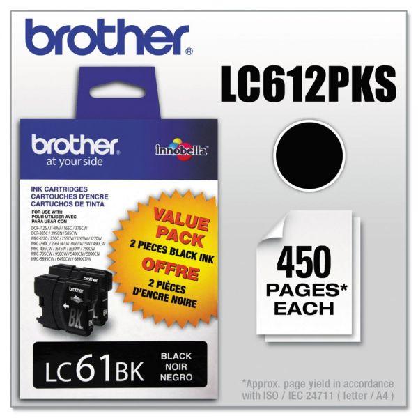 Brother LC612PKS Innobella Ink, Black, 2/PK