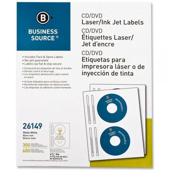 Business Source 26149 CD/DVD Label - 300 / Pack