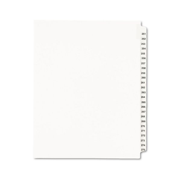 Avery Avery-Style Legal Exhibit Side Tab Divider, Title: 251-275, Letter, White