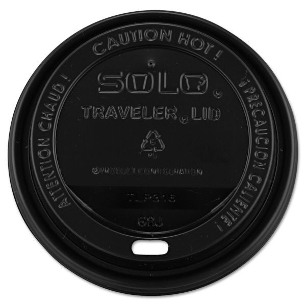 Dart Traveler Drink-Thru Lids, 10-24oz Cups, Black, 100/Sleeve, 10 Sleeves/Carton