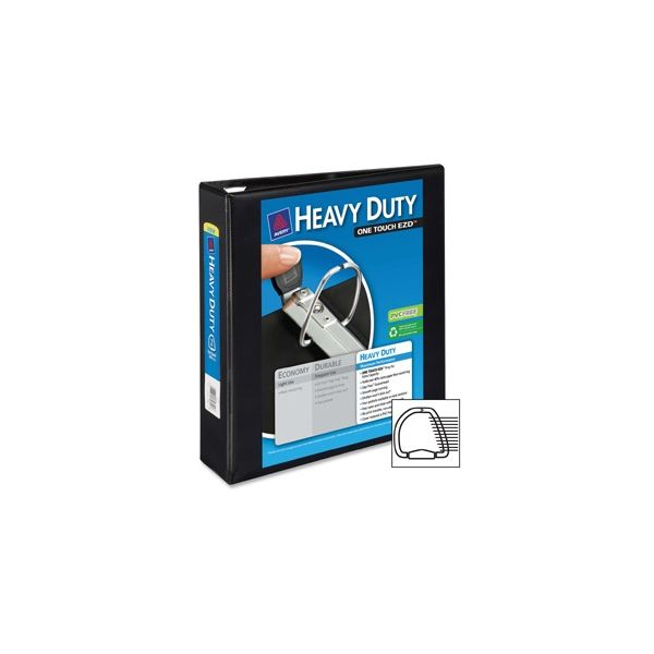 "Avery Heavy-Duty 3-Ring View Binder w/Locking 1-Touch EZD Rings, 2"" Capacity, Black"