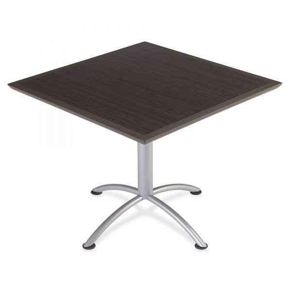 Iceberg iLand Table, Dura Edge, Square Seated Style, 36w x 36d x 29h, Gray Walnut/Silver