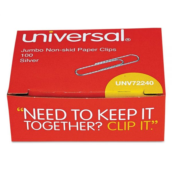 Universal Nonskid Paper Clips, Wire, Jumbo, Silver, 1000/Pack