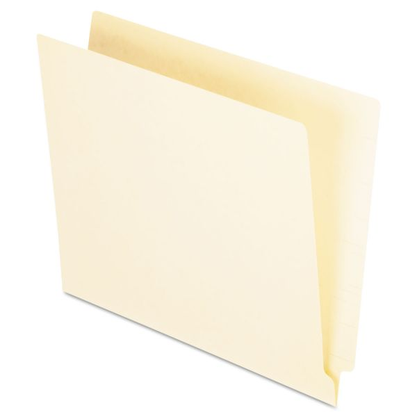 Pendaflex Straight Cut End Tab Folders, One Ply, Straight Cut, Letter, Manila, 100/Box