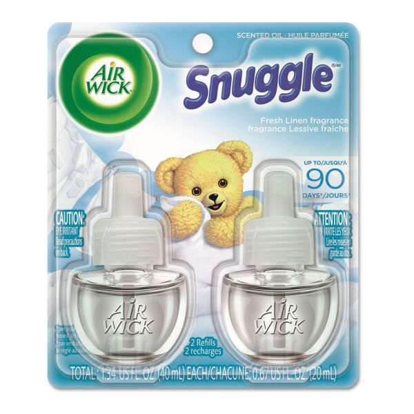 Air Wick Scented Oil Twin Refill, Snuggle Fresh Linen, 0.67 oz 2/Pack, 6/Carton